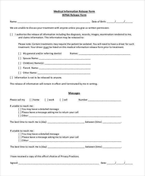 Records Release Form Free 8 Sample Hipaa Release Forms In Pdf Medical Information Sample Resume Words