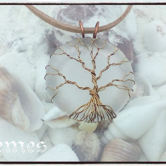 """tree of life"" sea glass necklace"