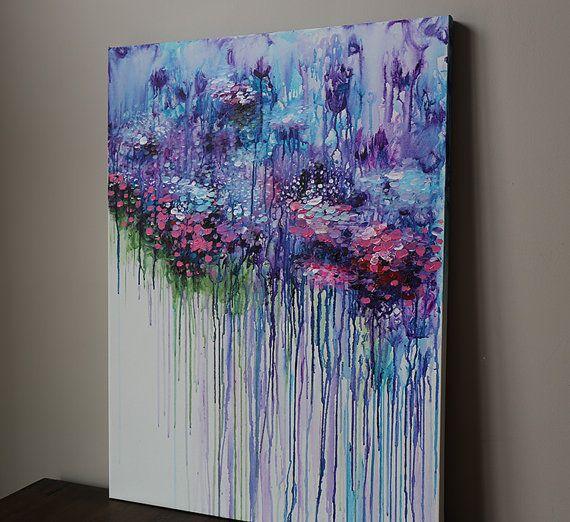 violett lila abstrakt blumen Malerei Acryl Malerei von artbyoak1