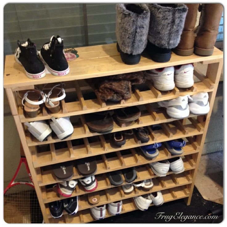 Simple storage idea: using an old winebottle shelving unit outdoors (under an awning) area for family's most used shoes. #shoes #shoestorage
