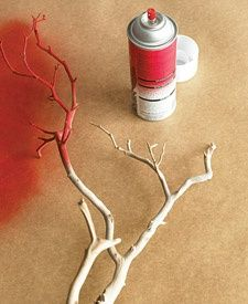 Make faux coral by spray-painting branches