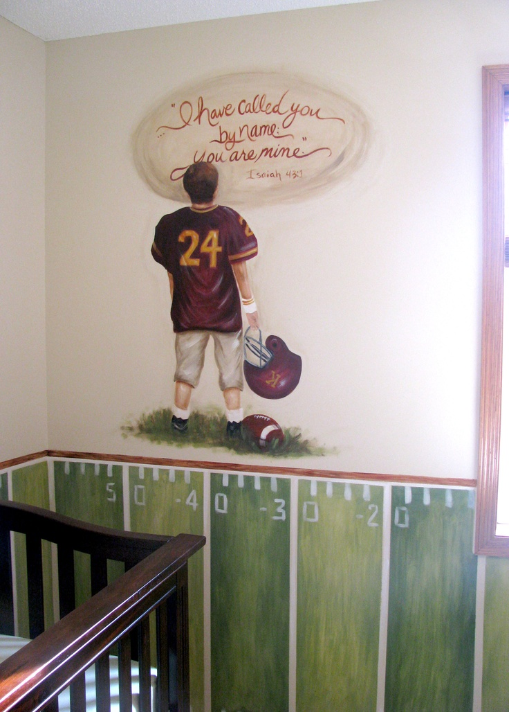 Football Theme Nursery - requested bible verse.