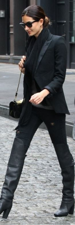 Who made Lily Aldridge's ripped skinny jeans, gold handbag, leather thigh high boots, and black sunglasses?