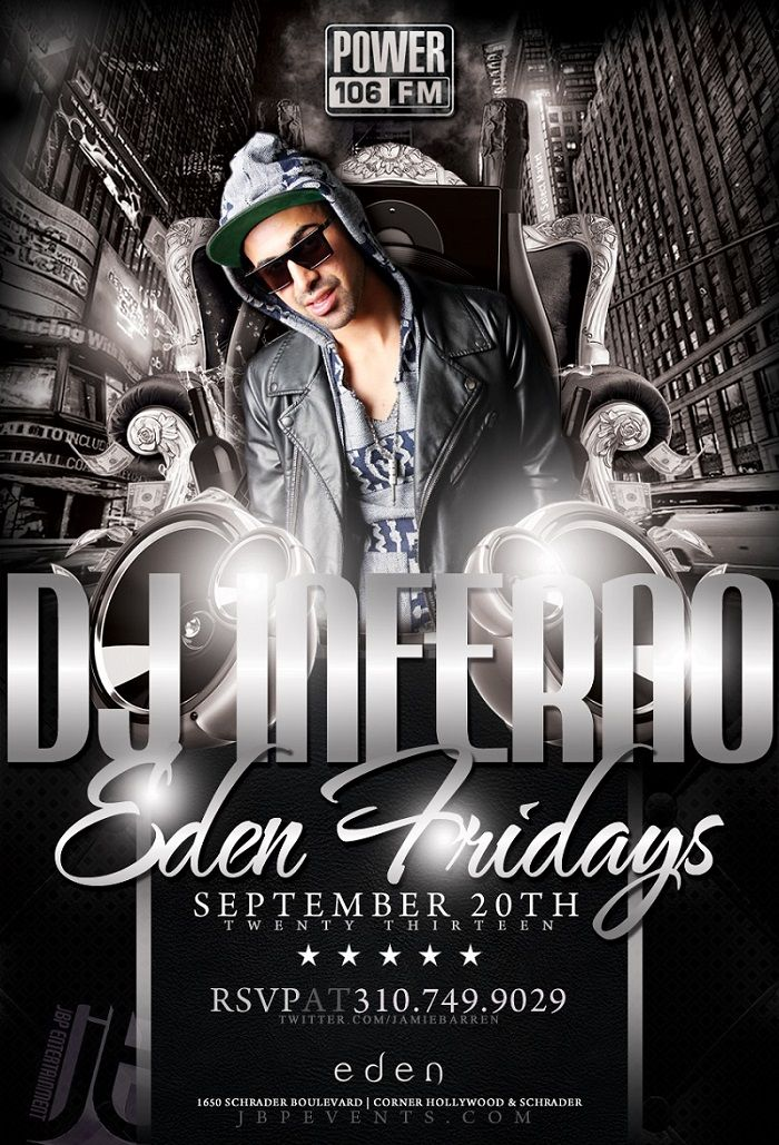 Jamie Barren Presents Eden Nightclub Hollywood Fridays / September 20, 2013 1650 Schrader Blvd, LA, CA 90028 – www.jbpevents.com  Featuring music by Dj Inferno of Power106 FM. All new insane Bottle Specials Available! Checkout Fridays at Eden online http://youtu.be/9PX-1N75lrM  For VIP tables with bottle service and/or guest list reservations, contact VIP host Jamie Barren at (310) 749-9029. FOLLOW US http://twitter.com/jamiebarren