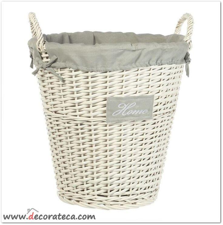 Cesto de mimbre blanco home www decorateca com cajas botes latas cestas decorateca - Cestos de mimbre blanco ...