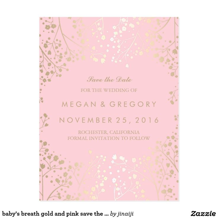 destination wedding save the dates and invitations%0A Baby u    s breath gold and pink save the date postcard