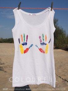 Bawełniana Koszulka Ręcznie Malowana DŁONIE