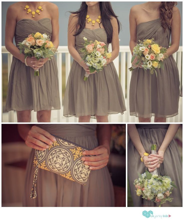 Grey and Yellow bridemaids colors, short bridesmaid dresses, #jcrew bridesmaids dresses photo by Rita Sullivan Photography