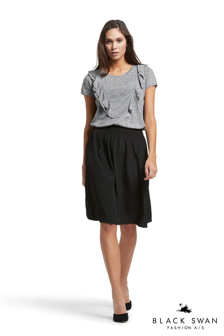 Soft grey melange top with frills and nice midi skirt with elastic waistband. Black Swan Fashion SS17