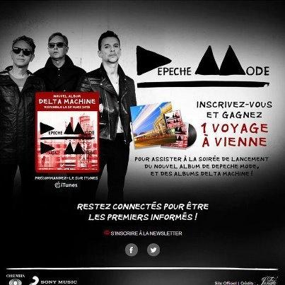 Rendez-vous sur notre page Facebook pour tenter de gagner un voyage à Vienne et assister à la soirée de lancement du nouvel album de Depeche Mode.    https://www.facebook.com/sonymusicfr/app_496093110428290