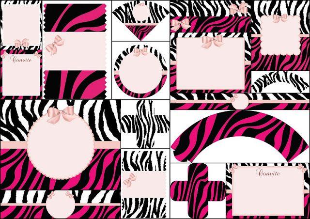 Kit Zebra Fucsia y Rosa para Imprimir Gratis.