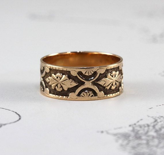 Victorian Rose Gold Stacking Ring Antique 10k Wedding Band Rose Gold Stacking Ring Antique Rings Gold Cigar Band Rings