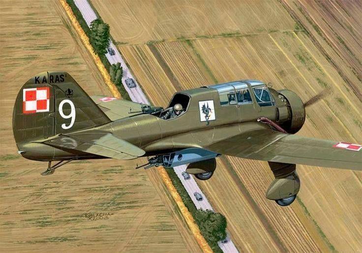 PZL.23 Karaś – polski lekki samolot bombowy. 22 eskadra bombowa, 2 pułk lotniczy, wrzesień 1939 r. Rys. Ryszard Kolacha