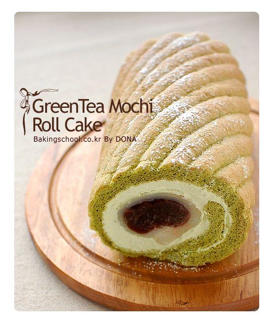 korean green mochi roll cake