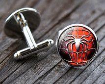 Spiderman Cufflinks, cuff links, spiderman, superhero, wedding, groom, groomsmen, wedding cufflinks, vintage