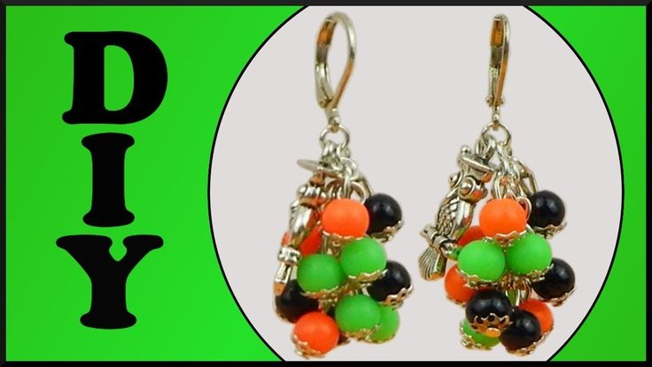 DIY Halloween Party | Perlen Ohrringe neon basteln | Beaded neon pearl e...