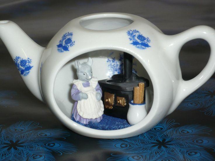 Reutter Porzellan Kanne mit Sichtfenster Mäuseküche Kürbis-Design Vintage selten   eBay