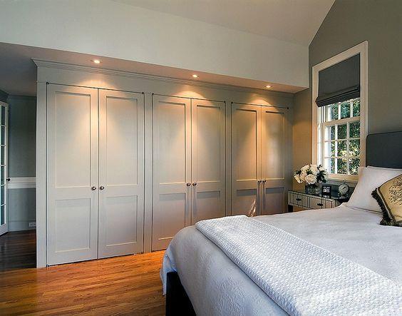 Wardrobe inspiration. Downward lighting for full effect on pale grey.
