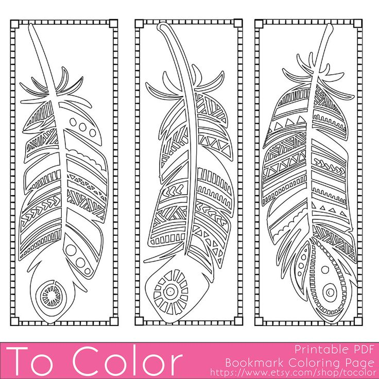 printable feathers coloring page bookmarks for adults pdf jpg instant download coloring book coloring sheet grown ups digital stamp - Coloring Book Coloring Pages