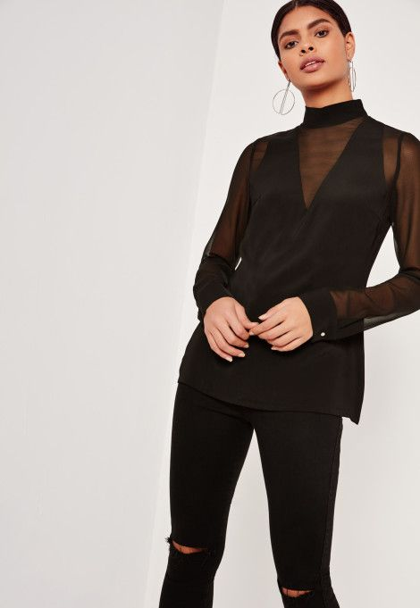 Hauts Blouses Femmes - Missguided Blouse noire en mousseline et résille grande taille
