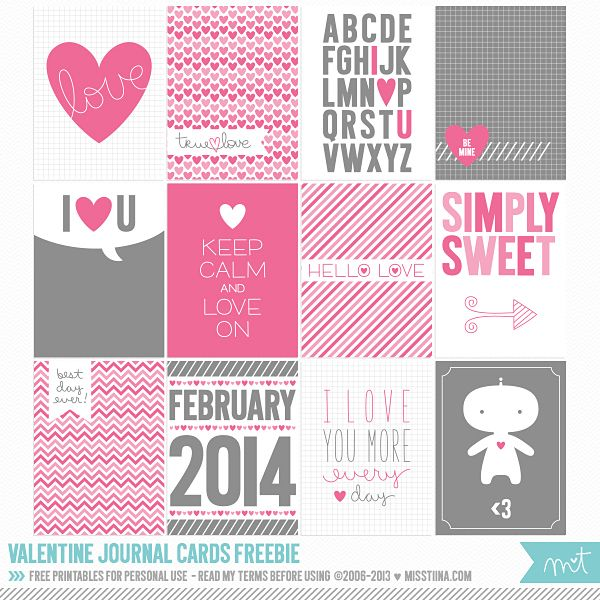 2014 Free Valentine Cards for Project Life...or cut and use as gift this or classroom valentine cards