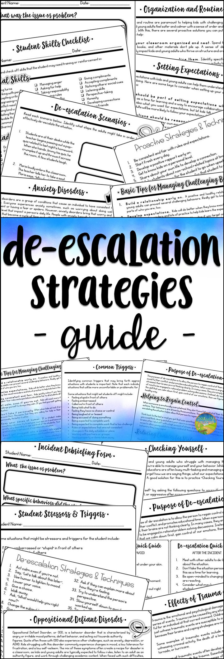 De-escalation Strategies Guide for teachers and counselors working with kids with challenging behaviors. This is ideal to defuse situations with kids and young adults with oppositional defiant disorder, ADHD, anxiety, and more.