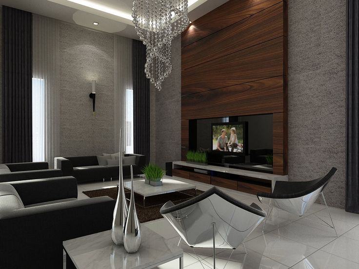 Ideas black and grey wall fast decoration of room wall can be decor with black sofas on the white floor tile it also has warm chandelier on the white