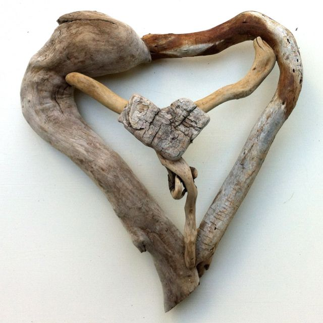 """Driftwood Art by Mother Nature. Titled: """"My Heart is connected to Love."""" Handmade by Doctor Driftwood."""
