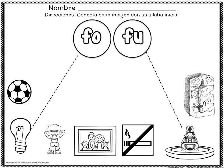 gratis silabas iniciales letra f fa fe fi fo fu spanish resources for k 1 pinterest. Black Bedroom Furniture Sets. Home Design Ideas