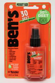 Bens 30 Deet Tick & Insect Repellent Spray P04-0255802-8200 - 1.25 fl oz travel size insect repellent in plastic pump bottle. 30% deet. ...