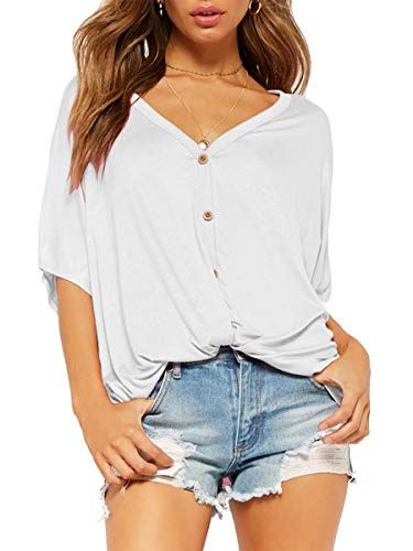 26f8cc4d103 ZileZile Women's Summer Sexy Casual Loose Button Down Half Sleeve Cotton  Blouse Tops Shirts White