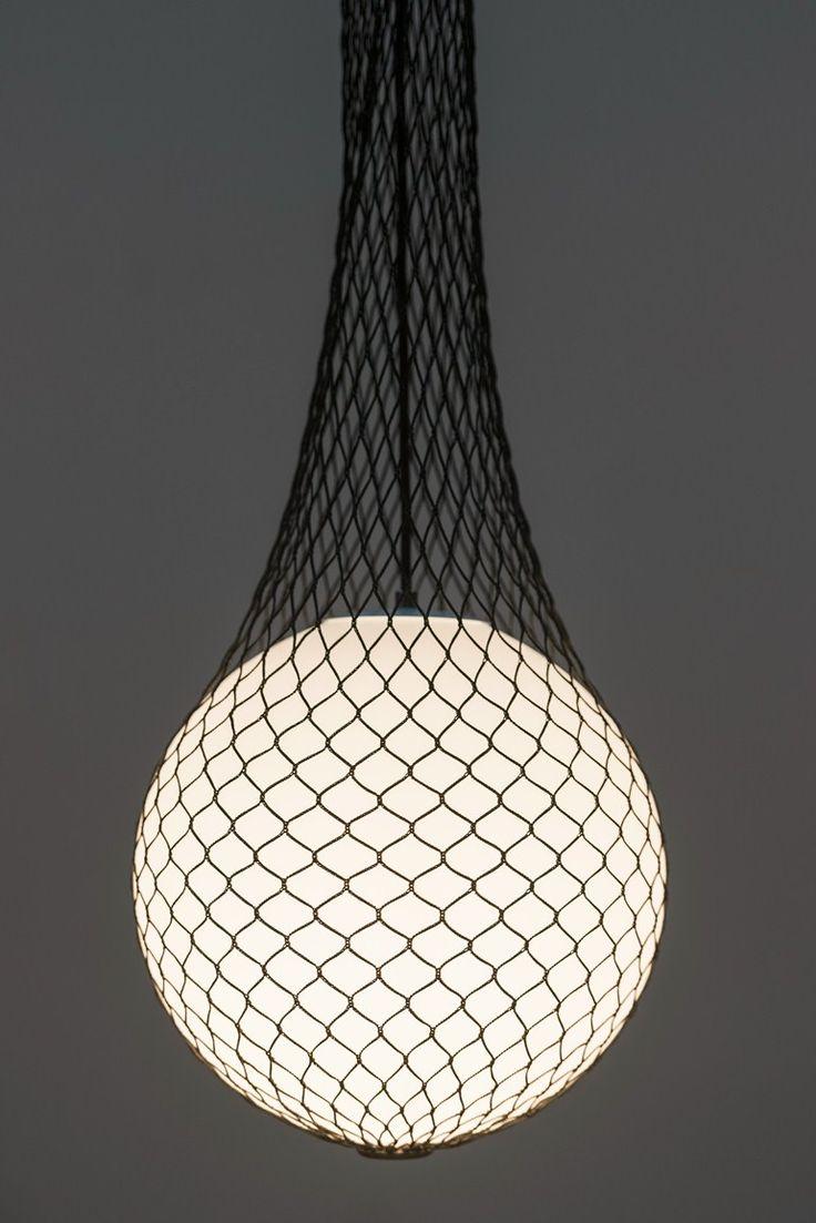 Glass and fabric pendant #lamp NETWORK by Formagenda | #design Benjamin Hopf @formagendagmbh