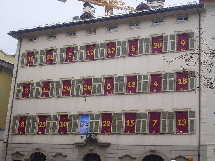 Advent calendar on Italian building in Bolzano. The 1st of December is already open.