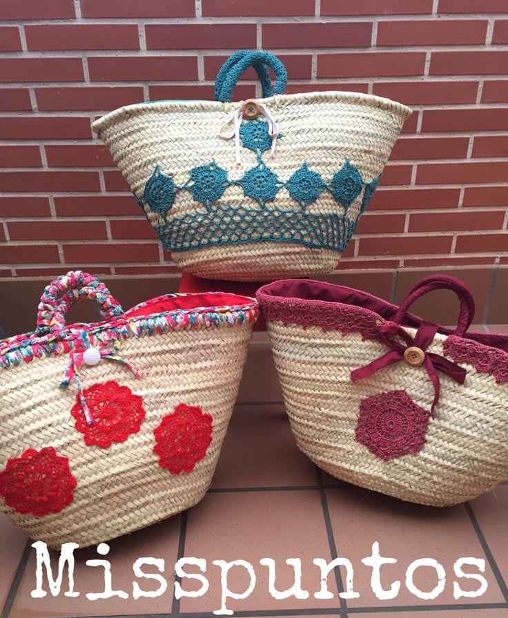 Capazos decorados con crochet www.misspuntos.es