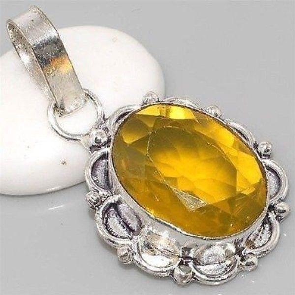 Faceted Lemon Citrine, Vintage Style, Silver Gemstone Pendant