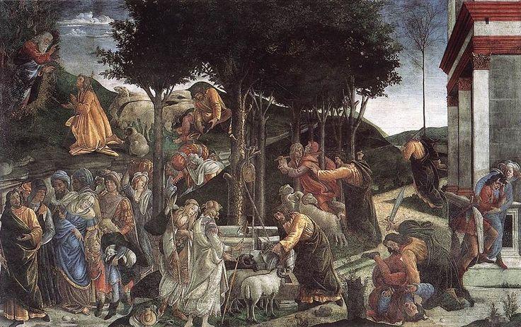 Het leven van mozes  Het schilderij komt uit 1481 en is gemaakt door Sandro Botticelli  Het is een schilderij over het leven van mozes die het land egypte leidt