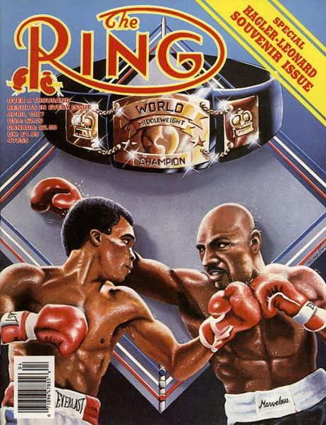 Marvelous Marvin Hagler defended against Sugar Ray Leonard in 1987. This was THE RING souvenir issue released prior to the fight.