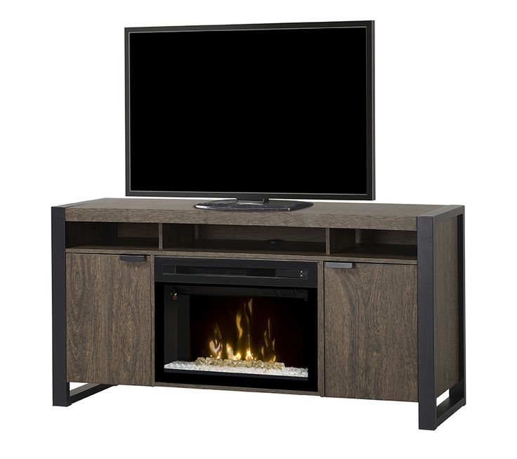 """Dimplex Pierre electric fireplace media cabinet in Elm Brown with 25"""" firebox; $999 cdn."""