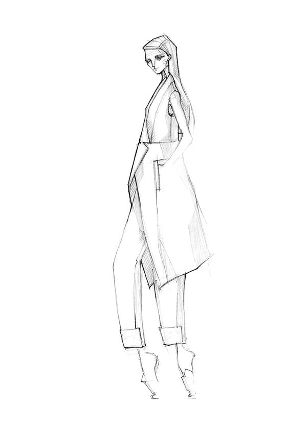 Fashion illustration - chic tailoring, fashion sketch // Milan Zejak