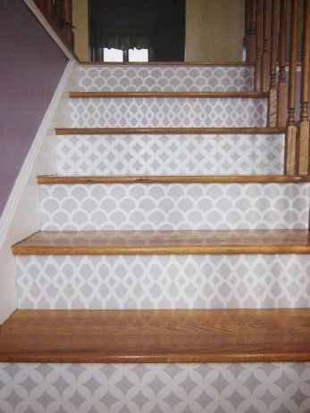 Perfect way to add a little pizazz. DIY Stencil Staircase