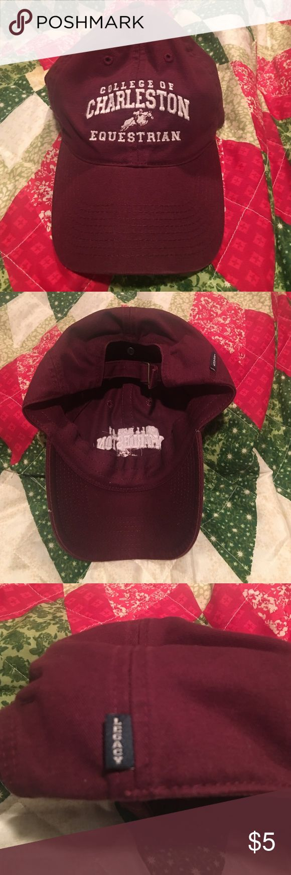 College of CHARLESTON equestrian baseball cap COLLEGE OF CHARLESTON baseball cap - adjustable cloth strap - GOOD condition. legacy Accessories Hats