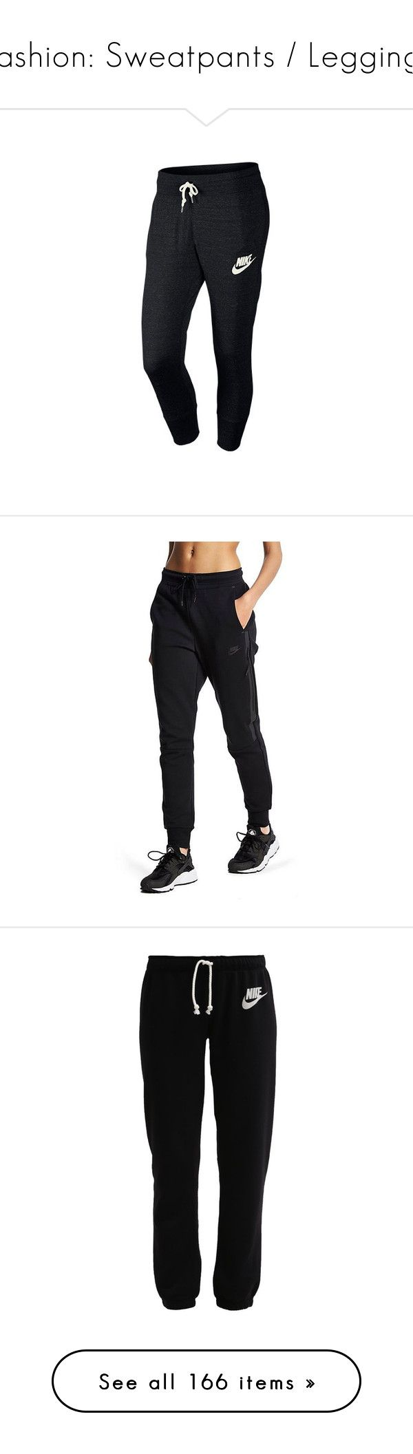 """""""Fashion: Sweatpants / Leggings"""" by katiasitems on Polyvore featuring activewear, activewear pants, pants, black, nike, nike sportswear, nike activewear pants, nike activewear, bottoms and sweatpants"""