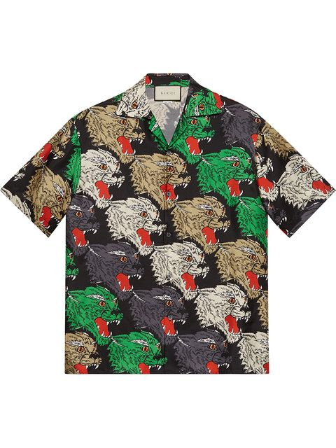 b421af34a55 Gucci Panther face bowling shirt