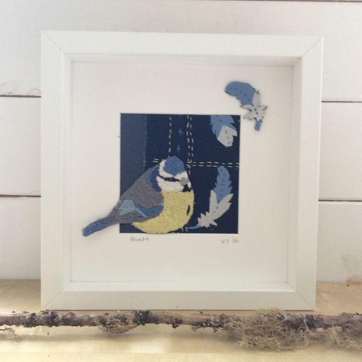 Bluetit. Hand embroidery. www.violetshirran.com