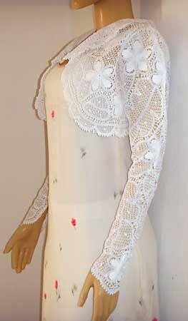 Bolero em renda renascença para usar com vestido de noiva                                                                                                                                                                                 Mais