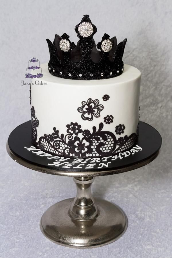 Black and White Bling Crown Cake - Cake by Jake's Cakes