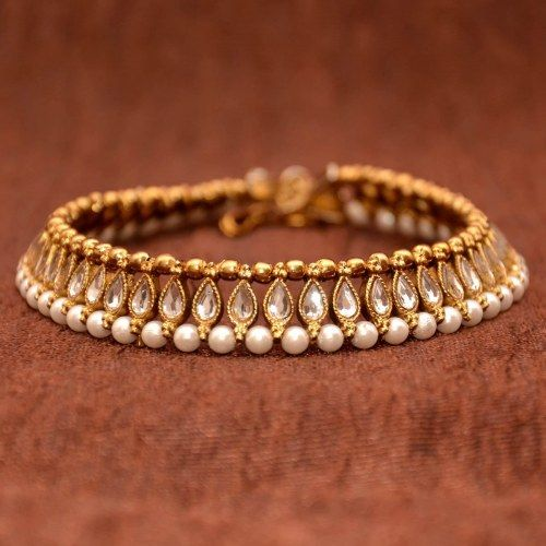 Anvi's Beautiful Anklets Studded with White Kundhan, Antique Beads and Pearls - Online Shopping for Anklets by Anvi Collections