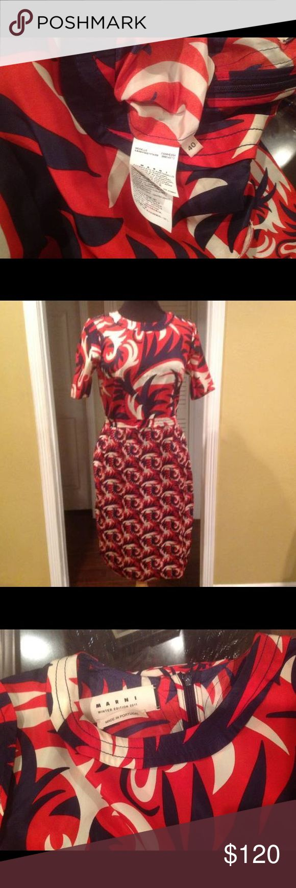 Marni red blue Dress A vintage red and blue Marni dress. In great condition. Marni Dresses Midi