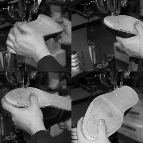 The blake sewing sews the insole-leather and the middlesole-leather and it is visible inside the shoe. #franceschetti handmade shoes Made in Italy