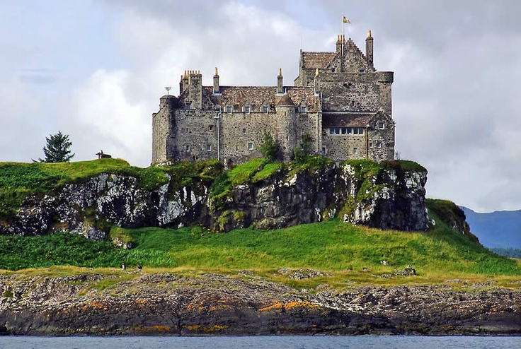 Duart Castle, Isle of Mull. Duart is the oldest lived in castle on Mull and stands proudly on a clifftop guarding the Sound of Mull, for over 400 years it has been the base for the Clan Maclean's formidable sea-borne power. One of the most spectacular and unique sites on the West Coast of Scotland, the position of Duart was well chosen.